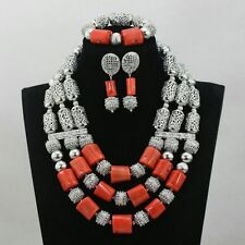 Traditional Coral with Silver Bridal  African Beads Jewelry Set