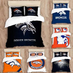 Denver Broncos Bedding Set 3PCS Duvet Cover Pillowcase Twin Full Queen King Size