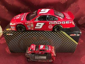 BILL ELLIOTT 2002 #9 Dodge Dealers UAW 1/24 Elite Car & 1/64 HO Car Diecast  SET