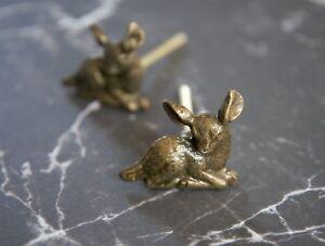 Iron Deer Fawn Antique Bronze Cabinet Knob Metal Cupboard Door Handle Pull 20
