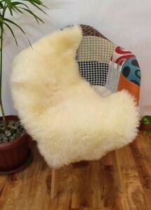 Genuine Sheepskin rug White Ivory 2x3ft, sheep wool Real Lamb skin Soft fur rugs