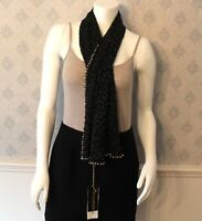 Donna Karen Black Beaded and White Pearl Long Silk Scarf or Shawl