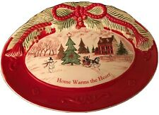 Christmas Fitz and Floyd Home Warms the Heart Holiday Sentiment Tray Platter