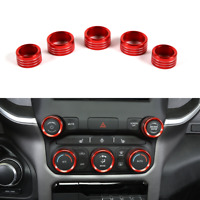 Red Center Console AC Radio Switch Knob Cover Trim Ring For Dodge RAM 1500 2018+
