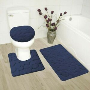 ROCK DESIGN 3PC BATHROOM SET SOFT COMFORT MEMORY FOAM BATH RUGS SOLID COLOR