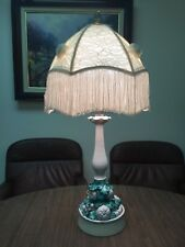 Vintage Mid Century White & Green Pottery Fruit Relief Majolica Table Lamp