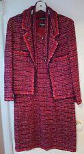 VINTAGE CHANEL 2 piece Jacket & Dress Tweed wool silk floral red Set Size 12