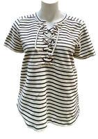 Madewell Black White Nautical Striped Knit Short Sleeve Top Shirt M