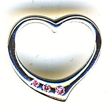 """925 Sterling Silver Pale Pink Cubic Zirconia Floating Heart Pendant 15mm  3/5"""""""