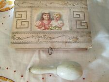 Antique Victorian child's sewing box kit with darner antique notions