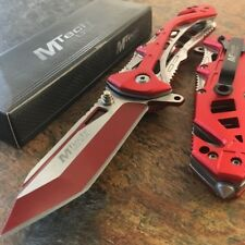 MTECH USA Tanto Spring Assisted Tactical Folding Pocket RESCUE Knife Open Red