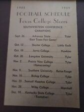 1935 Rare African American Texas College Steers football schedule Wow the Teams