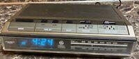 General Electric GE Radio Alarm Clock Vintage Wood Teak Model 7-4642B