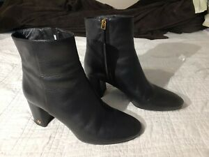 TORY BURCH Brooke Leather Booties Ankle Boots Black 46063 Block Heel Size 10