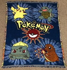 Vintage 90s Pokemon Woven Tapestry Throw Blanket Northwest Nintendo