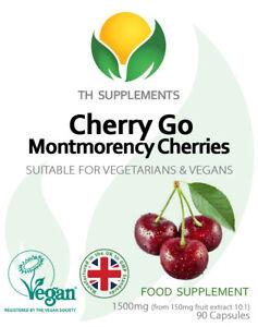 Cherry Go Montmorency 1500 mg 180 Capsules  UK Made ( 2 packs x 90)