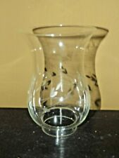 Vintage Hurricane Lamp Shade Clear Etched Glass