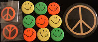 "Pin Lot 1960's Fluorescent ORANGE & BLACK PEACE SIGN 1970's 3.5"" Button SMILES"