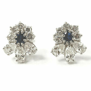 Sapphire and Diamond Earrings 18ct White Gold Screw Back Stud Ladies 3.10ct