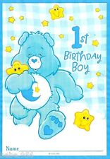NEW CARE BEARS 1st  BIRTHDAY BOY  8-PLASTIC LOOT BAGS   PARTY SUPPLIES