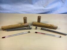 """2 X Vintage Taylor 5.5"""" Thermometer Binoc 21420 0-220F w Tubes & Metal Cases"""