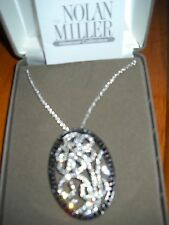 Nolan Miller MALIBU Pave Flower Pendant with Chain - Black & Clear Crystals -NEW