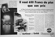 PUBLICITÉ LE KODAK RETINA PREND 36 VUES DIFFÉRENTES SUR CHAQUE BOBINE PANATOMIC