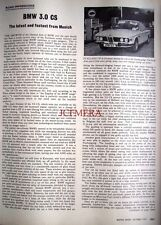 Original 1971 BMW '3.0 CS' Motoring Magazine Car Report (2-Sided)