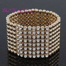 Designer Chic Red Carpet Glamour Wide Gold Cuff Bracelet w/ Swarovski Crystals
