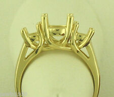 THREE STONE RING SETTING 14K YELLOW GOLD FOR 1CT TW NEW