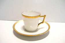 Vintage Demi Tasse Cup and Saucer White with Gold Gilt Trim France 2.25 Tall