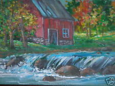 ACEO  Barn Stream Country Landscape print of painting