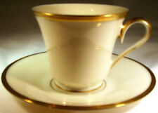 LENOX ETERNAL IVORY with GOLD BAND FOOTED COFFEE CUP & SAUCER SET MADE IN USA!