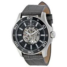 Invicta Specialty Mechanical Hand Wind Skeletal Grey Leather Mens Watch 17258