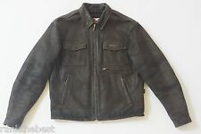 Harley Davidson Men's Distressed Classic Black Leather Jacket Winged HD Logo L