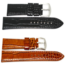 Mens 22mm Leather Crocodile Watch Band Strap Black Brown For Fossil Grant