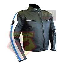 BMW 3874 SKY BLUE MOTORBIKE COWHIDE LEATHER MOTORCYCLE BIKERS ARMOURED JACKET
