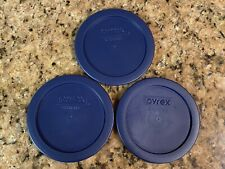 PYREX 7200-pc Blue 2 Cup Round Plastic Lid Covers 3pk for Glass Bowls