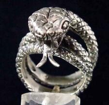 Stainless Adjustable King Cobra Biker Ring Custom Size Snake Handmade r-94ss