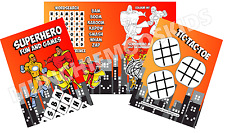 Pack of 12 - Boys Superhero Fun and Games Activity Sheets - Party Bag Fillers