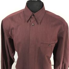 Vintage ZANELLA ITALY Mens Large LS Shirt - Hidden Button Placket 16 1/2 x 35