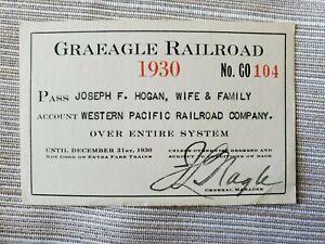 Vintage 1930 Graeagle Railroad Company Pass Valid on Logging Spurs