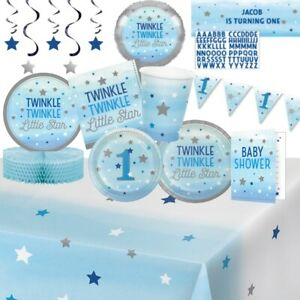 Twinkle One Little Star Blue Party Tableware, Decorations & Balloons