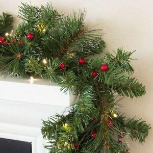 9ft Pre-Lit Christmas Garland w/ 50 LED Lights, Silver Bristles, Pine Cones, Ber