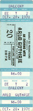 1978 ARLO GUTHRIE UNUSED CONCERT TICKETS - SET OF TWO - Oct. 17th & Oct. 20th