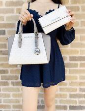 Michael Kors Medium Ciara Messenger Bag White MK Grey + Large Trifold Wallet