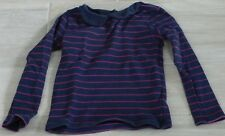 6227 - T-shirt ML 6 ans OKAIDI bleu marine à rayures violettes style marin col c
