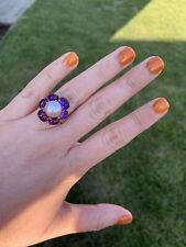 New $ 4 100$.Mimi Milano Ring 18K Rose Gold, Amethyst / Freshwater Pear.