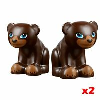 LEGO Bear Cubs x2  Minifigure Elves / Friends Animal Dark Brown Forest Zoo