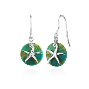 Sterling Silver Simulated Turquoise Round Polished Flower Dangle Earrings
